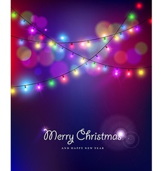 merry year bokeh lights blur holiday vector image