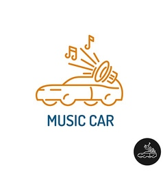 Music car logo linear style vehicle silhouette vector image