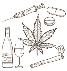 Narcotics - marijuana alcohol vector
