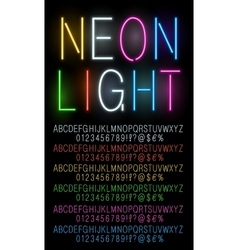 Neon colored fonts vector