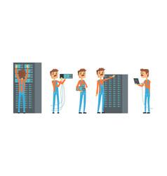 network engineer working in data center set vector image