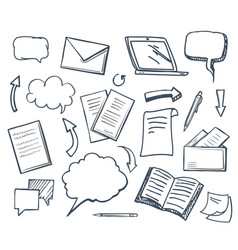 office paper books and pencil icons set vector image