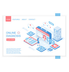online diagnosis isometric landing page vector image