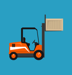 orange forklift lifted the box up isolated vector image