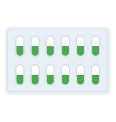 Packaging gelatin drug capsules icon flat isolated vector