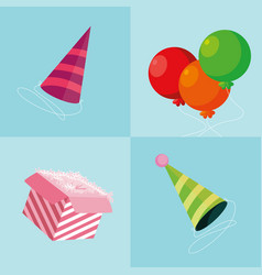Party hats with balloons helium and gift box vector