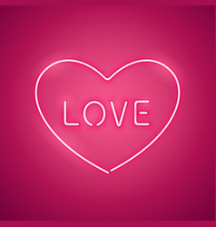 pink love in the heart neon banner vector image