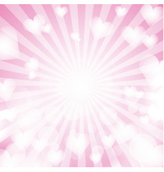 pink shiny heart love abstract light sun rays vector image