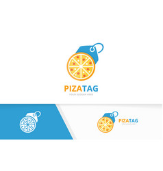 pizza and tag logo combination food and vector image