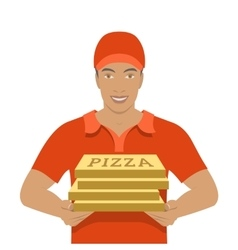 Pizza delivery boy holding cardboard boxes vector
