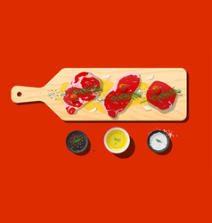 Raw beef steaks and seasoning on cutting board vector