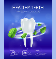 realistic dental poster vector image