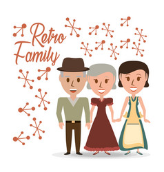 Retro family grandparents with their daughter vector