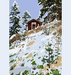 scandinavian winter landscape with wooden house on vector image