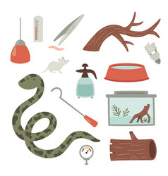 Set a snake care items vector