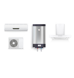Set icons of household appliances on a white vector