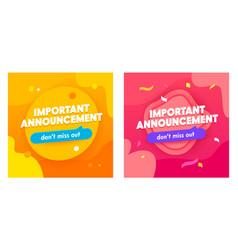 Set important announcement banners vector