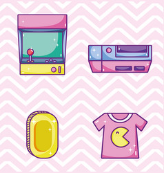 Set of retro videogames cartoons vector