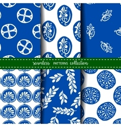 Set of six seamless backgrounds vector image
