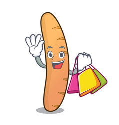 shopping baguette character cartoon style vector image