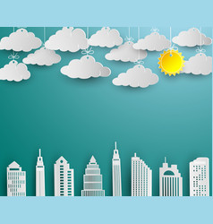 skyscraper and cloud in white paper art design vector image