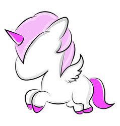 Small unicorn on white background vector