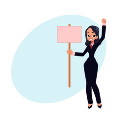 smiling girl woman businesswoman on strike vector image