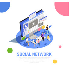 Social media isometric composition vector