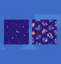 starry zodiac pattern set vector image