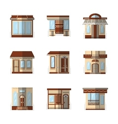 Storefronts flat color icons vector
