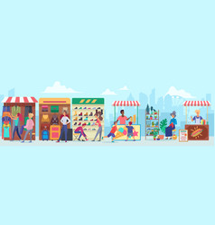 street clothing and food market flat vector image