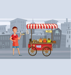 street food cart with the seller fast food vector image