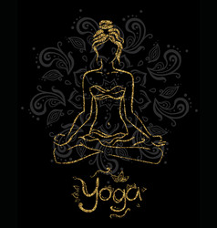 Theme of meditation and yoga vector