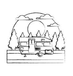 trailer home isolated in the forest vector image