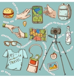 travel and tourism icon things for travelling vector image