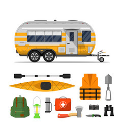 Travel life poster with camping trailer vector