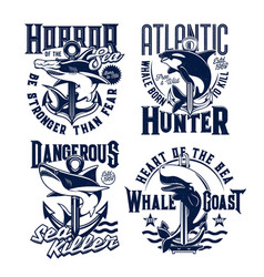 tshirt prints with ocean killer whale and shark vector image