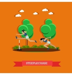Two steeplechase female athletes flat design vector