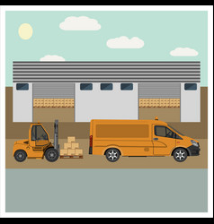 unloading of goods by forklift vector image