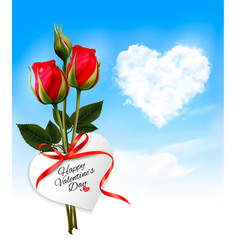 Valentine background with heart cloud and red vector