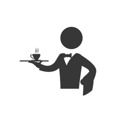 Waiter mug male pictogram suit person icon vector image