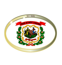 West virginia state flag oval button vector