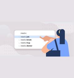 Woman writing need a job in search bar on virtual vector
