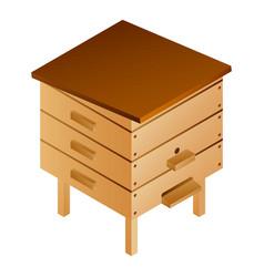 Wood bee hive icon isometric style vector