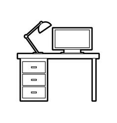 wooden desk computer lamp workspace furniture vector image