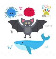 Zoo alphabet with funny cartoon animals U v w vector
