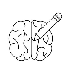 brain pencil learning outline vector image