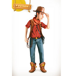 Cowboy cartoon character Adventure 3d icon vector image