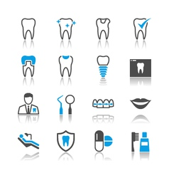 Dental icons reflection vector image vector image