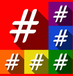 hashtag sign set of icons vector image vector image